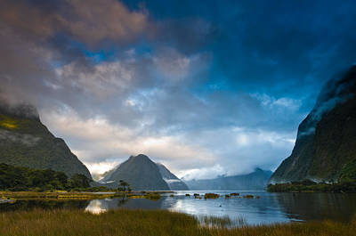 Cloudy Morning At Milford Sound At Sunrise Art Print by Ulrich Schade