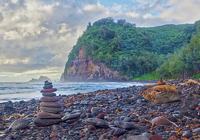 Wall Art - Photograph - Cloudy Morning At Pololu Valley Black Sand Beach by Martin Belan