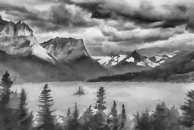 Digital Art - Cloudy Mountain Top II by Jon Glaser