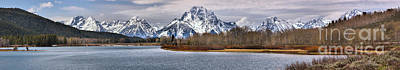 Photograph - Cloudy Oxbow Bend Panorama by Adam Jewell