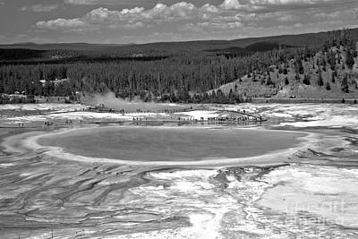 Photograph - Cloudy Skies Over Grand Prismatic Black And White by Adam Jewell