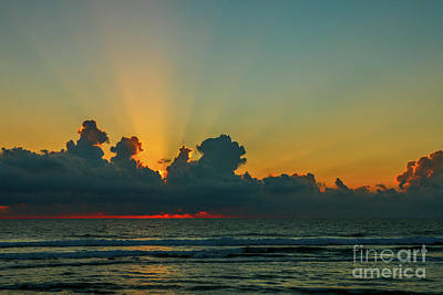 Photograph - Cloudy Sunburst Sunrise by Tom Claud