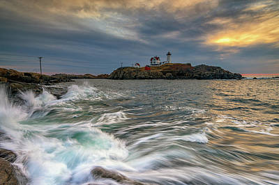 Photograph - Cloudy Sunrise At Cape Neddick by Rick Berk