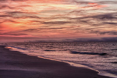 Print featuring the photograph Cloudy Sunrise At The Beach by John McGraw