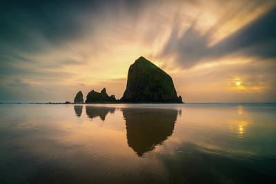 Photograph - Cloudy Sunset At Cannon Beach by James Udall