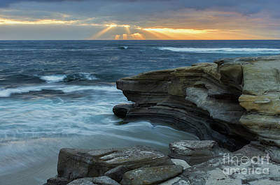 Photograph - Cloudy Sunset At La Jolla Shores Beach by Eddie Yerkish