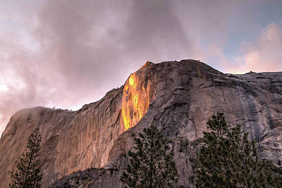 Photograph - Cloudy Sunset Horsetail Falls by Connie Cooper-Edwards