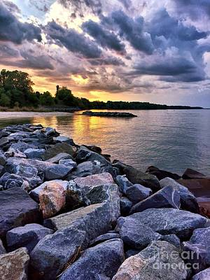 Photograph - Cloudy Sunset Over The York River by Linda Mesibov