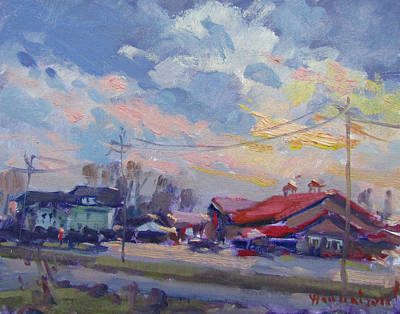 Market Painting - Cloudy Sunset by Ylli Haruni