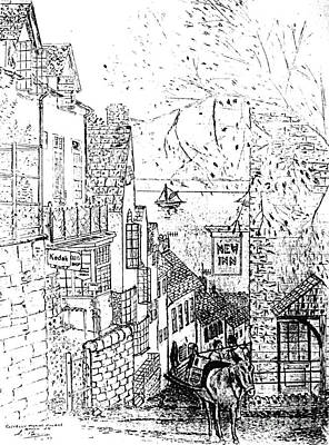 Drawing - Clovelly Fishing Village by Hazel Holland