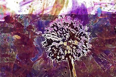 Digital Art - Clover Flower Bee Purple Flower  by PixBreak Art