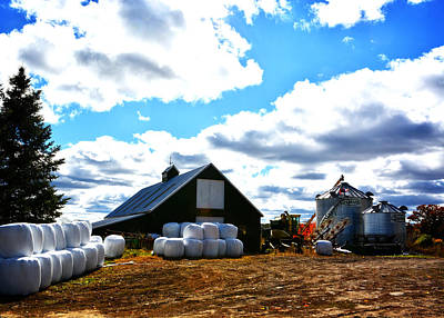 Photograph - Clover Hill Farm Hay Bales by Mike Martin