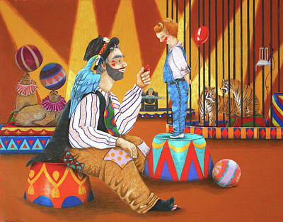 Sea Lion Drawing - Clown And Boy by Teresa Frazier