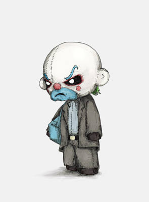 Joker Wall Art - Drawing - Clown Bank Robber Plush by Ludwig Van Bacon