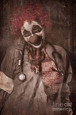 Clown Doctor Being Strangled By Autopsy Limb Art Print by Jorgo Photography - Wall Art Gallery