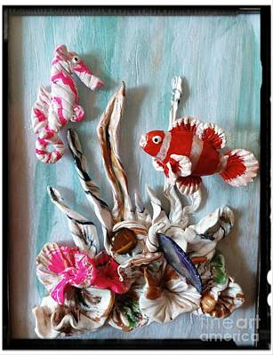 Seahorse Mixed Media - Clown Fish And Seahorse Having Fun by Kirk Wieland