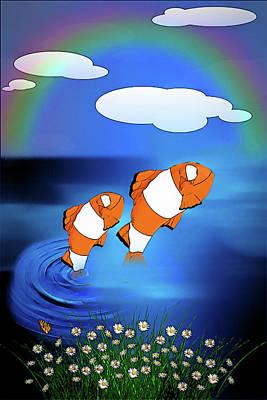 Digital Art - Clown Fish Frolic by John Haldane