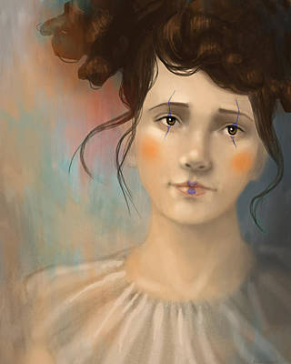 Female Portrait Digital Art - Clown Girl by Angela Murdock