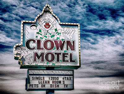 Nevada Mixed Media - Clown Motel Tonopah Nevada by David Millenheft