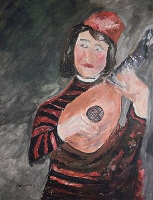 Clown Playing The Lute Original by Edward Wolverton