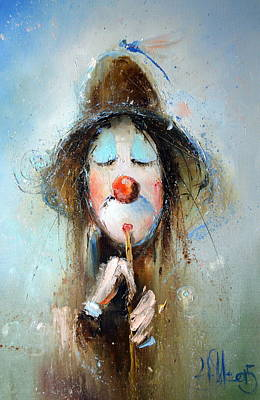 Painting - Clown Plays On Flute by Igor Medvedev