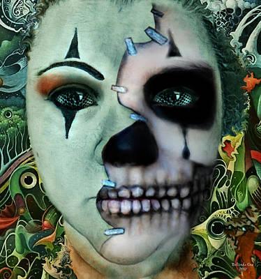 Digital Art - Clown Skull Abstract by Artful Oasis
