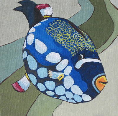 Triggerfish Painting - Clown Triggerfish by Sandy Tracey