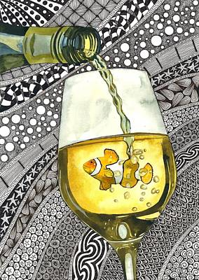 Pouring Wine Drawing - Clown Wine by Terri Kelleher