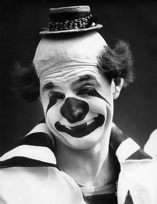 Sad Clown Photograph - Clown With Tiny Hat, C.1930s by H. Armstrong Roberts/ClassicStock