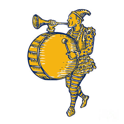 Trumpet Digital Art - Clown With Trumpet And Drum Marching Etching by Aloysius Patrimonio