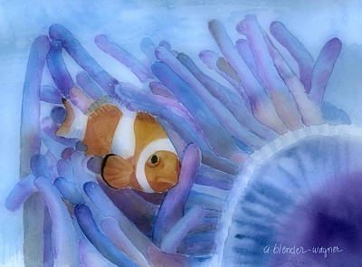 Fish Underwater Painting - Clownfish And The Sea Anemone by Arline Wagner