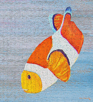 Fish Painting - Clownfish On Wood by Ken Figurski