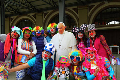Clowning Around With Pope Francis Art Print by James Brunker