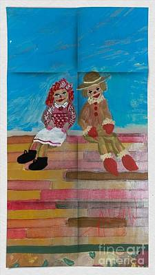 Animals Paintings - The Clowns by My door by Just Another-Bird