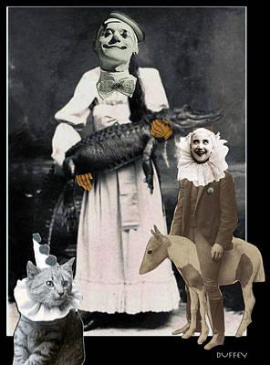 Digital Art - Clowns Alligator Cat Pony 3a by Doug Duffey