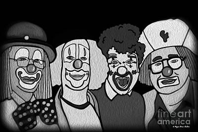 Digital Art - Clowns Bw by Megan Dirsa-DuBois