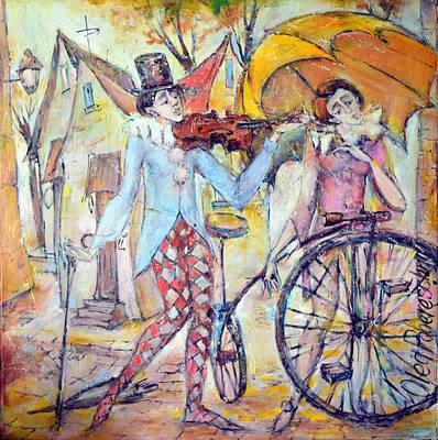 Painting - Clowns by Oleg  Poberezhnyi