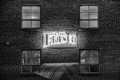 Photograph - Club Frisco Black And White Neon - Rogers Arkansas Monochrome by Gregory Ballos