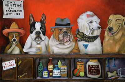 English Bull Dog Painting - Club K9 by Leah Saulnier The Painting Maniac