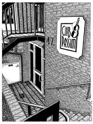 Boston Ma Drawing - Club Passim, Cambridge, Ma by Conor Plunkett