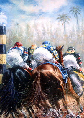 Jockey Painting - Clubhouse Turn At Gulfstream by Thomas Allen Pauly