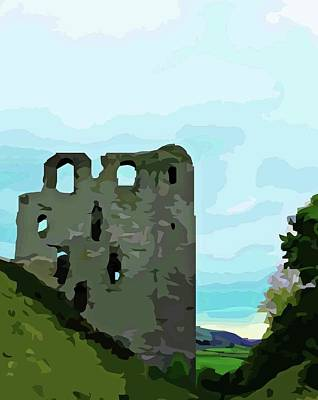 Digital Art - Clun Castle by Mary Castellan