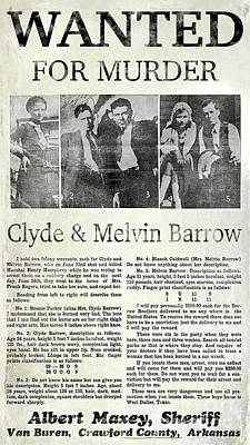 Bonnie And Clyde Photograph - Clyde And Melvin Barrow Wanted Poster by Jon Neidert