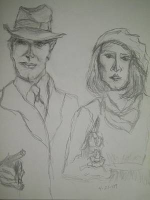 Bank Robber Drawing - Clyde Barrow And Bonnie Parker by Nancy  Caccioppo