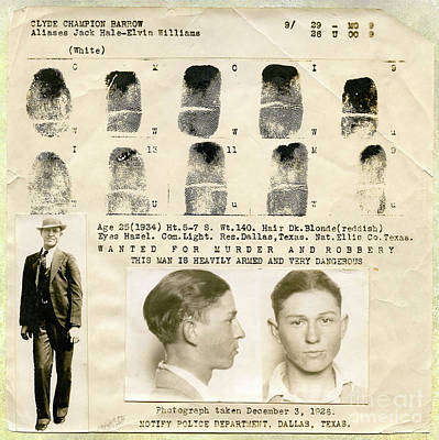 Beer Photograph - Clyde Barrow Mugshot by Jon Neidert