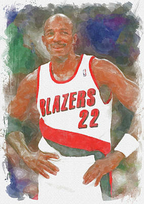 Athletes Royalty-Free and Rights-Managed Images - Clyde Drexler Paint by Ricky Barnard