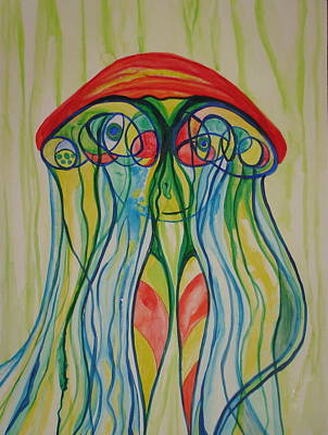 Painting - Clyde The Jellyfish by Erika Swartzkopf
