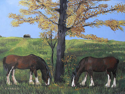 Painting - Clydesdale Feeding by Aleta Parks
