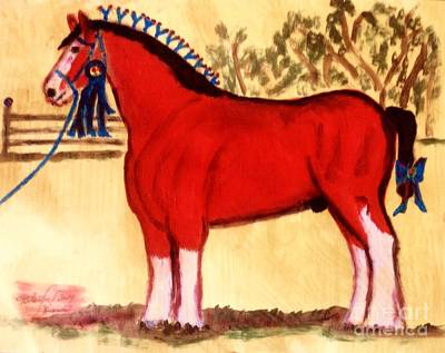 Painting - Clydesdale Horse Blue Ribbon Stallion by Richard W Linford