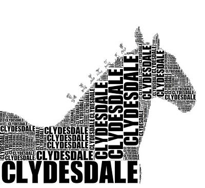 Digital Art - Clydesdale Words by Alice Gipson